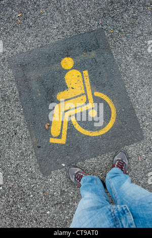parking space for disabled drivers - Stock Photo