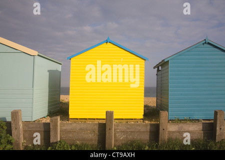beach huts at lancing on the sussex coast - Stock Photo