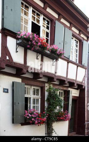 Medieval half-timbered house in Basel Old Town, Switzerland - Stock Photo