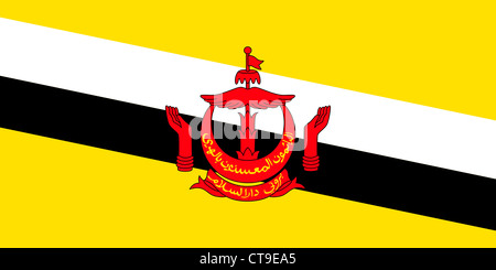 Flag of the State of Brunei. - Stock Photo