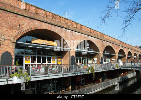Deansgate Locks, bars + clubs under railway arches - overlooking Rochdale Canal, Whitworth St. West, city centre, - Stock Photo