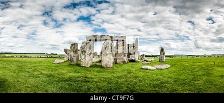STONEHENGE, UK - LONDON, UK - Stonehenge Panorama of Southwest Face. Believed to have been built somewhere between - Stock Photo
