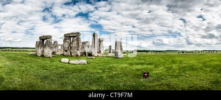 STONEHENGE, UK - LONDON, UK - Stonehenge Panorama with Salisbury Plain. Believed to have been built somewhere between - Stock Photo