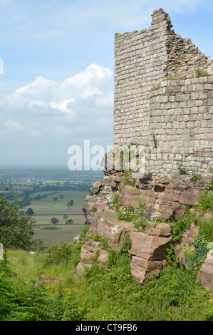 Sandstone rock foundation & part of ruins of inner ward of Beeston Castle at summit of 500ft high crag with views - Stock Photo