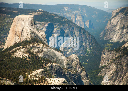 Half Dome and Yoesmite Valley view from Clouds Rest, Yosemite National Park - Stock Photo