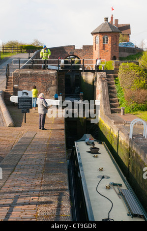 Bratch Locks at Wombourne, South Staffs, UK, on the Staffordshire and Worcestershire Canal - Stock Photo