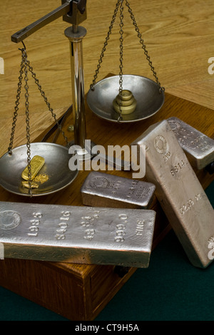 Silver Bullion Bars - Gold Bar, Gold Nugget and Gold Dust on Antique Balance Scale. Brass Weights on Other Side - Stock Photo