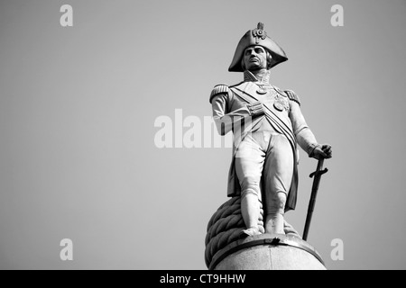 Nelson statue in Trafalgar Square - Stock Photo