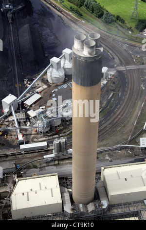 aerial view of Drax Power Station tall chimney in Yorkshire - Stock Photo