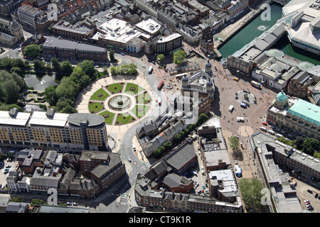 aerial view of Hull city centre with Queens Gardens - Stock Photo