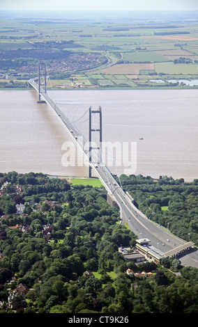 aerial view of the Humber Bridge from the north bank near Hull, East Yorkshire - Stock Photo