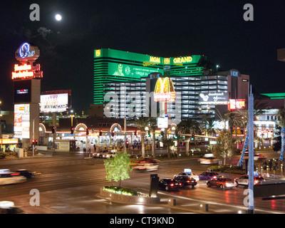 Intersection of Las Vegas Boulevard and Tropicana Avenue, Las Vegas, Nevada - Stock Photo