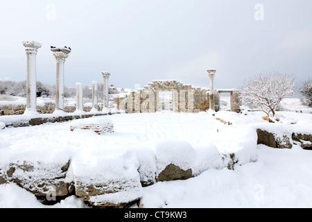 Ruins of Chersonesus in the snow, Sevastopol, Crimea, Ukraine. (VI centuries B.C.) - Stock Photo