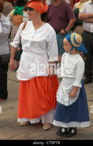 Spain, Canary Islands, Gran Canaria, Las Palmas, Dia de las Canarias, festival, people, traditional dress, - Stock Photo