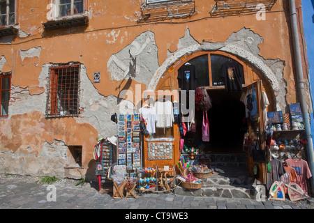 Front house of a shop in Sighişoara, Carpathian Transylvania, Târnava Mare River in Mureş County, Romania, Eastern - Stock Photo