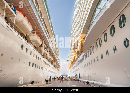 Royal Caribbean cruise ships, Splendour of the Seas on left, Navigator of the Seas on right, berthed at Kusadasi, - Stock Photo