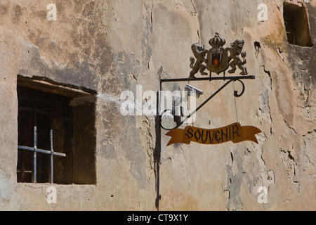 Shop in the Citadel of Sighişoara, Carpathian Transylvania, Târnava Mare River in Mureş County, Romania, Eastern - Stock Photo