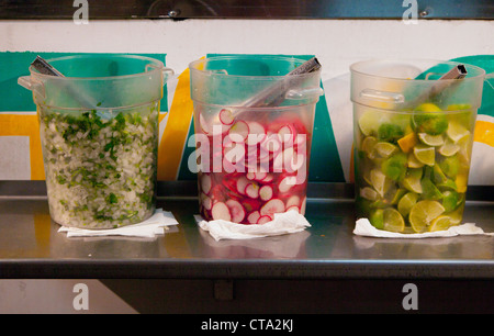 Condiments from a taco truck in Los Angeles. - Stock Photo