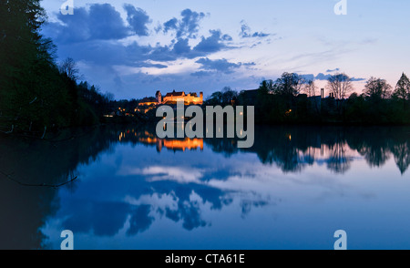 Illuminated Fuessen Castle at the river Lech in the evening, East Allgaeu, Germany, Europe - Stock Photo