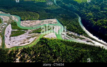 High angle view of nature reserve Pupplinger Au, Wolfratshausen, Upper Bavaria, Germany, Europe - Stock Photo