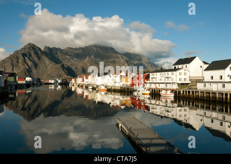 Fishing village of Henningsvaer on the Lofoten islands, Autumn, Austvagoy, Nordland, Norway, Scandinavia, Europe - Stock Photo