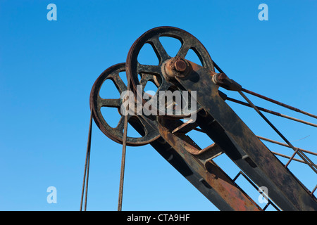 Detail of pulley system of discarded mechanical digger at Minas de Rio Tinto, Huelva Province, Andalusia, southern - Stock Photo