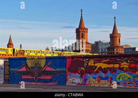Berlin Wall mural, East Side Gallery, Berlin, Germany, Europe - Stock Photo