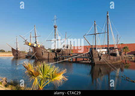 Replicas of ships Columbus sailed to the Americas in at the Wharf of the Caravels, Palos de la Frontera, Spain - Stock Photo
