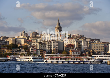 View over Golden Horn onto Galata tower at Beyoglu, Istanbul, Turkey, Europe - Stock Photo
