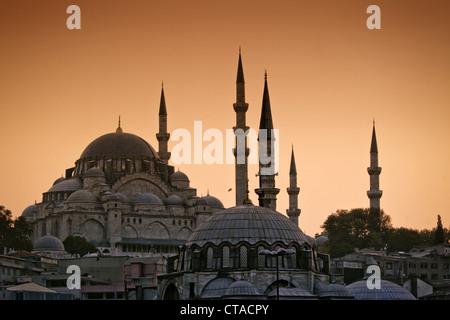 Suleymaniye Mosque at sunset, Golden Horn, Istanbul, Turkey, Moschee, Europe - Stock Photo