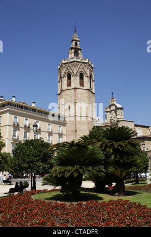The bell tower El Micalet of the cathedral, Valencia, Spain, Europe - Stock Photo
