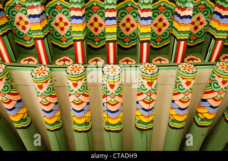 detail of wooden painted palace building seoul south korea - Stock Photo