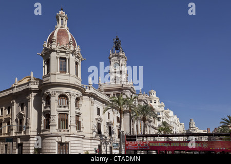 Town hall at Plaza del Ayuntamiento square in the sunlight, Valencia spain, Europe - Stock Photo