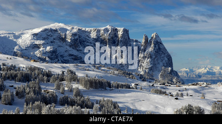 Village in front of the massif, Schlern, UNESCO wordl natural heritage, Dolomites, South Tyrol, Trentino-Alto Adige, - Stock Photo