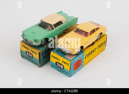 Corgi Aston Martin DB5 and Ford Thunderbird die-cast model toys - Stock Photo