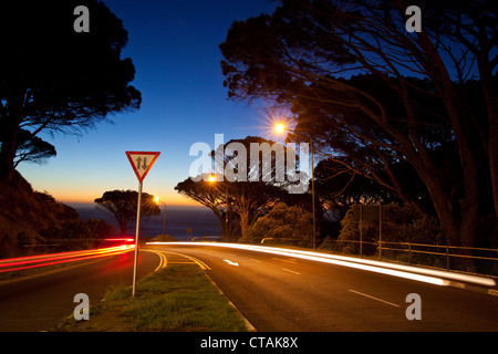 Pass-street Kloof Road leading from Cape Town to Camps Bay after sun-set, Cape Town, Western Cape, South Africa, RSA, Africa