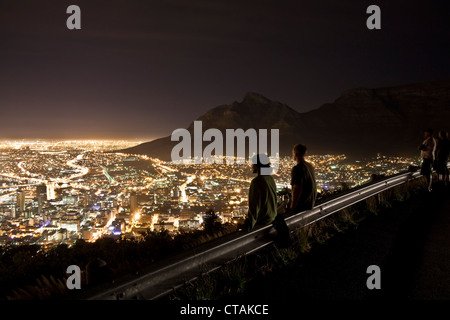 View from Signal Hill onto and Table Mountain, Cape Town, Western Cape, South Africa - Stock Photo