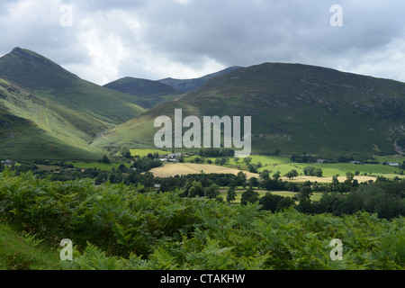 Causey Pike and Barrow on Derwent Water, Lake District National Park, UK - Stock Photo