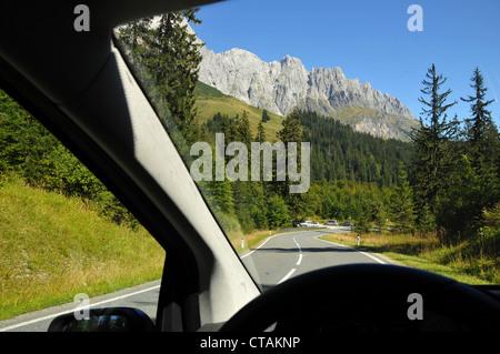 Country road at Hochkoenig near Muehlbach, Pongau, Salzburg-land, Austria - Stock Photo