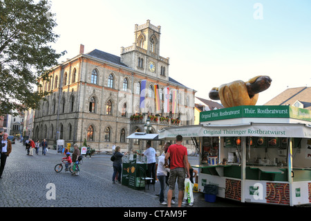 Weimar town hall on market square, Weimar, Thuringia, Germany - Stock Photo