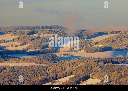 Winters evening between St Peter and St Maergen, Wind energy, Black Forest, Baden-Wuerttemberg, Germany, Europe - Stock Photo