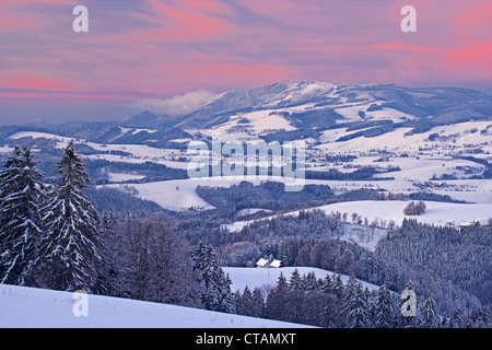 View on a winters evening from Breitnau-Fahrenberg towards Kandel mountain and St Peter, Black Forest, Baden-Wuerttemberg, - Stock Photo
