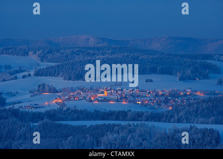 View on a winters evening from Breitnau-Fahrenberg towards St Maergen, Black Forest, Baden-Wuerttemberg, Germany, - Stock Photo