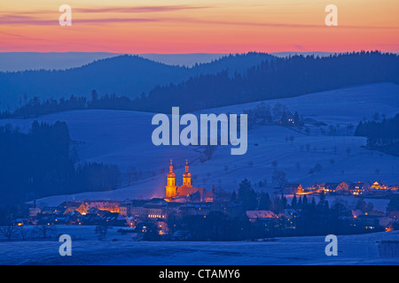 View on a winters evening towards St Peter, Black Forest, Baden-Wuerttemberg, Germany, Europe - Stock Photo