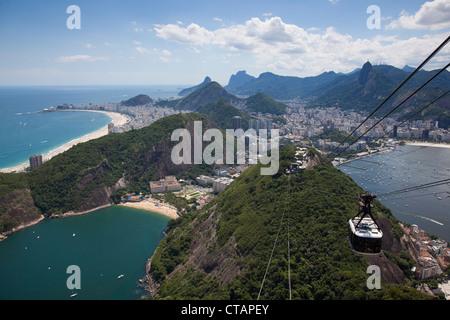 View over city from Pao de Acucar, Sugar Loaf, mountain with Sky Gondola cable car, Rio de Janeiro, Rio de Janeiro, - Stock Photo