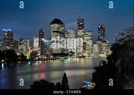 Skyline of Brisbane night, Brisbane River, Queensland, Australia - Stock Photo