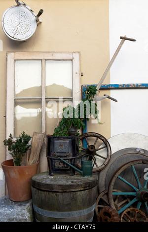 Antiques in front of an antique shop, Garmisch Partenkirchen, Bavaria, Germany - Stock Photo