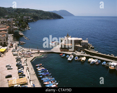 A view from above of Marina Corta on LIpari in the Aeolian Islands. - Stock Photo