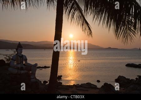Sunset at the Big Buddha Beach, Koh Samui Island, Surat Thani Province, Thailand, Asia - Stock Photo