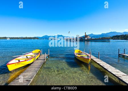 Paddlewheeler Ludwig Fessler on lake Chiemsee, Prien, Chiemgau, Upper Bavaria, Germany - Stock Photo